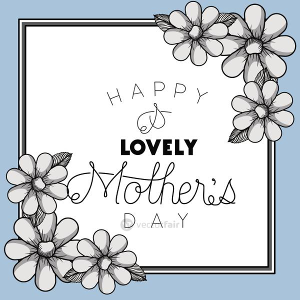happy mothers day frame with flowers