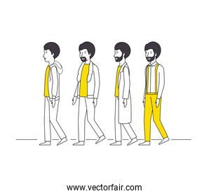 group of men with yellow clothes