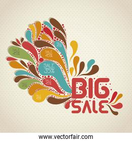 illustration of sale label with colorful drops vector illustrati