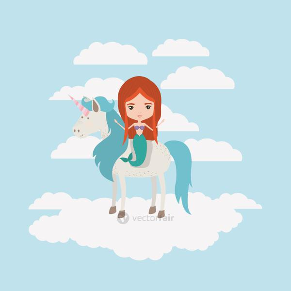 mermaid with unicorn in the clouds