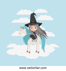 witch with unicorn in the clouds