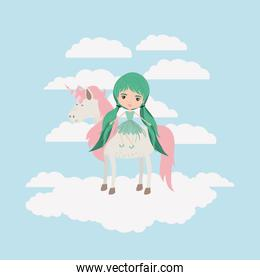 fairy with unicorn in the clouds