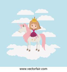 princess with unicorn in the clouds