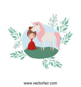 princess with unicorn in the camp