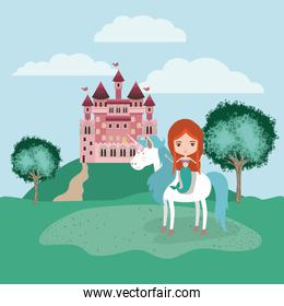 mermaid with unicorn in the camp and castle