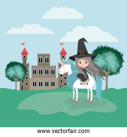 witch with unicorn in the camp and castle