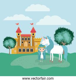 fairy with unicorn in the camp and castle
