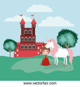 princess with unicorn in the field and castle