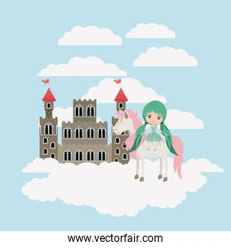 fairy with unicorn in the clouds and castle