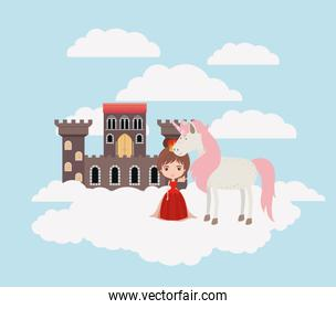princess with unicorn in the clouds and castle