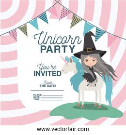 witch with unicorn invitation card