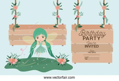 fairy with wooden label invitation card