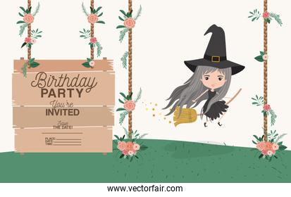 witch flying with wooden label invitation card