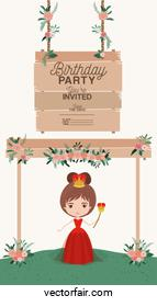 princess with wooden label invitation card