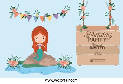 mermaid with wooden label invitation card