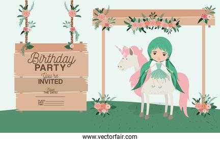 fairy with unicorn and label wooden invitation card