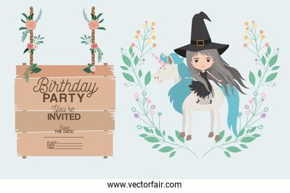witch with unicorn and label wooden invitation card