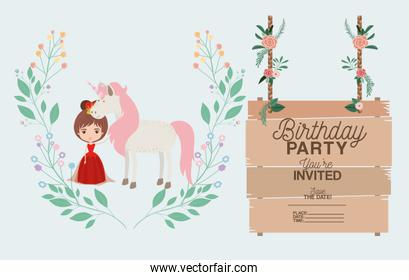princess with unicorn and label wooden invitation card