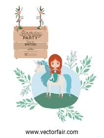 mermaid with unicorn and wooden label invitation card