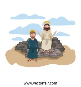 Jesus christ with apostle in the dessert characters