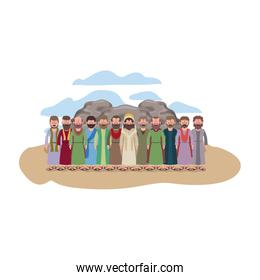 Jesus christ with apostles in the dessert characters