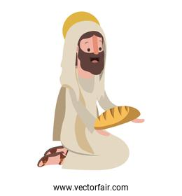 Jesus christ on knees with bread avatar character