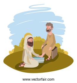 Jesus washing the feet of an apostle in the camp