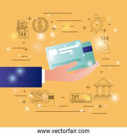 credit cards with finance  icons set