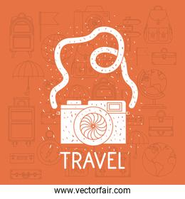 camera photographic with set travel icons
