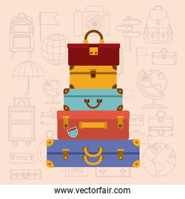 pile suitcases with travel set icons