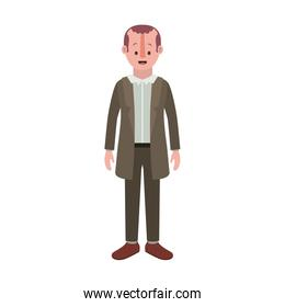 man with old suit with sweater