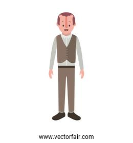man with old suit with vest