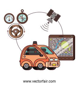isometric car and tablet with gps app tech