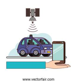 isometric car and smartphone with gps application