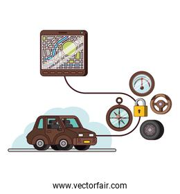 isometric car and tablet with gps app