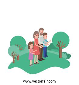 parents couple with son and daughter in field landscape