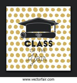graduating lettering card with hat and diploma