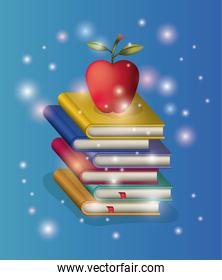 pile books study with apple