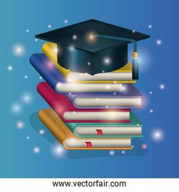 graduation card with hat and pile books
