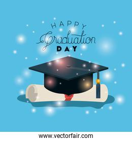graduation card with hat and diploma