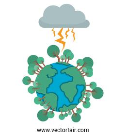 earth planet with electric strom natural disaster