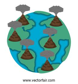 earth planet with erupting volcanoes, natural disaster concept