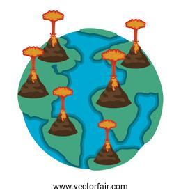 earth planet with erupting volcanoes natural disaster