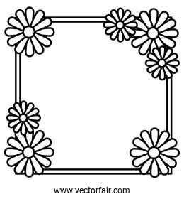 beautiful flowers decorative square frame