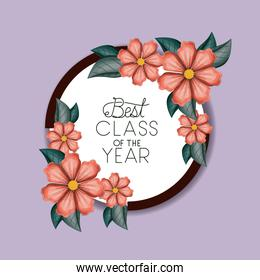 class of the year circular and floral frame