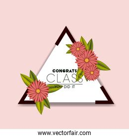 class of the year triangular and floral frame