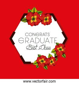 class of the year hexagonal and floral frame