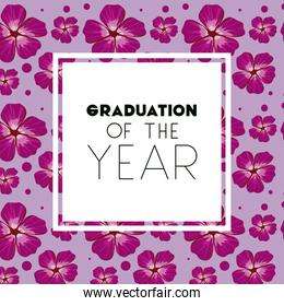 class of the year square frame and floral pattern background
