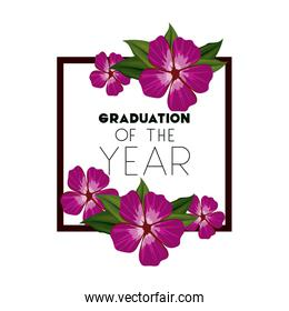 class of the year square and floral frame