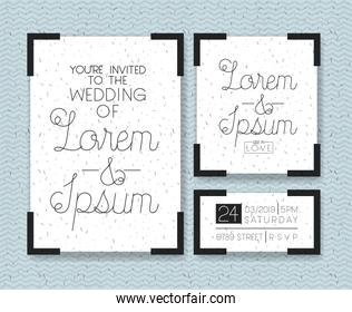 wedding and married invitation set cards